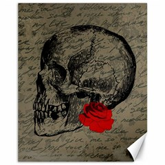 Skull And Rose  Canvas 11  X 14   by Valentinaart