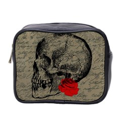 Skull And Rose  Mini Toiletries Bag 2 Side by Valentinaart