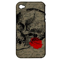 Skull And Rose  Apple Iphone 4/4s Hardshell Case (pc+silicone) by Valentinaart