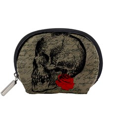 Skull And Rose  Accessory Pouches (small)  by Valentinaart