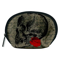 Skull And Rose  Accessory Pouches (medium)  by Valentinaart