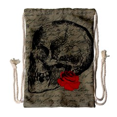 Skull And Rose  Drawstring Bag (large) by Valentinaart