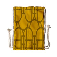 The Michigan Pattern Yellow Drawstring Bag (small)