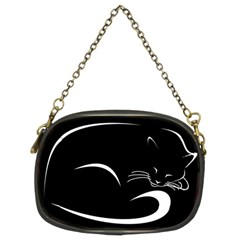 Cat Black Vector Minimalism Chain Purses (two Sides)