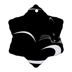 Cat Black Vector Minimalism Snowflake Ornament (two Sides)