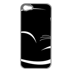 Cat Black Vector Minimalism Apple Iphone 5 Case (silver)