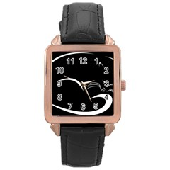 Cat Black Vector Minimalism Rose Gold Leather Watch