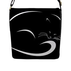 Cat Black Vector Minimalism Flap Messenger Bag (l)