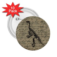 Dinosaur Skeleton 2 25  Buttons (10 Pack)  by Valentinaart