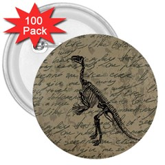 Dinosaur Skeleton 3  Buttons (100 Pack)  by Valentinaart