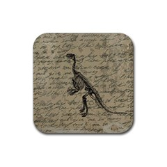 Dinosaur Skeleton Rubber Coaster (square)  by Valentinaart