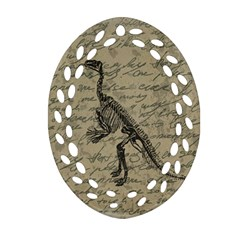 Dinosaur Skeleton Oval Filigree Ornament (two Sides) by Valentinaart