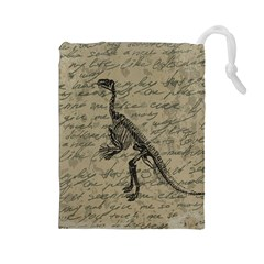 Dinosaur Skeleton Drawstring Pouches (large)  by Valentinaart
