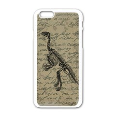 Dinosaur Skeleton Apple Iphone 6/6s White Enamel Case by Valentinaart