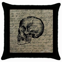 Skull Throw Pillow Case (black) by Valentinaart