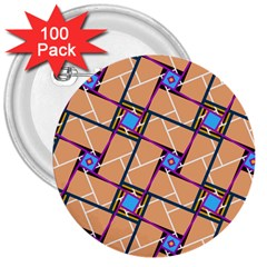 Overlaid Patterns 3  Buttons (100 Pack)