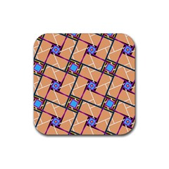 Overlaid Patterns Rubber Coaster (square)