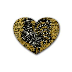 Vintage Rooster  Rubber Coaster (heart)  by Valentinaart