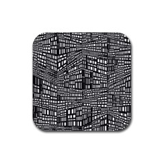 Recursive Subdivision Between 5 Source Lines Screen Black Rubber Coaster (square)