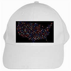 America Usa Map Stars Vector  White Cap by Simbadda