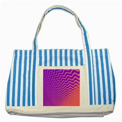 Pink And Purple Striped Blue Tote Bag by Simbadda