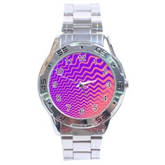 Pink And Purple Stainless Steel Analogue Watch by Simbadda