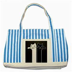 Texture Cats Black White Striped Blue Tote Bag by Simbadda