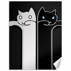 Texture Cats Black White Canvas 18  X 24   by Simbadda