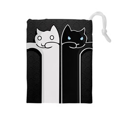 Texture Cats Black White Drawstring Pouches (large)