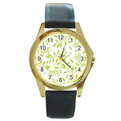 Leaves Pattern Seamless Round Gold Metal Watch by Simbadda