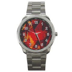 Surface Line Pattern Red Sport Metal Watch