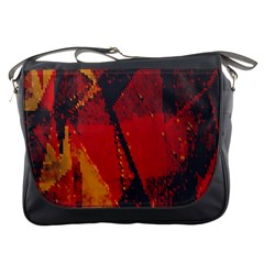Surface Line Pattern Red Messenger Bags