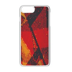 Surface Line Pattern Red Apple Iphone 7 Plus White Seamless Case