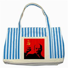 Lenin  Striped Blue Tote Bag by Valentinaart