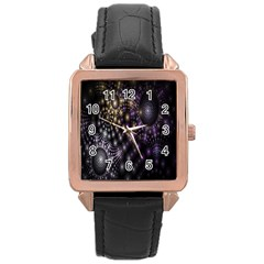 Fractal Patterns Dark Circles Rose Gold Leather Watch  by Simbadda