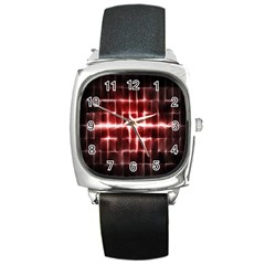 Electric Lines Pattern Square Metal Watch by Simbadda