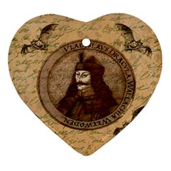 Count Vlad Dracula Ornament (heart) by Valentinaart