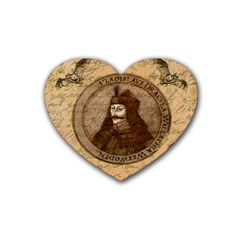Count Vlad Dracula Rubber Coaster (heart)  by Valentinaart
