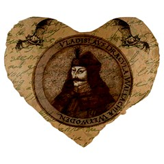 Count Vlad Dracula Large 19  Premium Heart Shape Cushions by Valentinaart