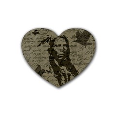 Indian Chief Rubber Coaster (heart)  by Valentinaart