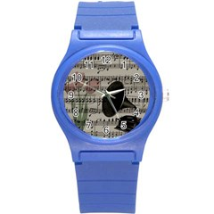 Vintage Music Design Round Plastic Sport Watch (s) by Valentinaart