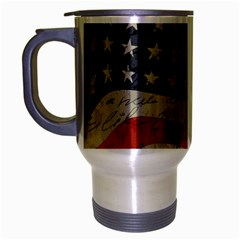 Vintage American Flag Travel Mug (silver Gray) by Valentinaart