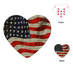 Vintage American Flag Playing Cards (heart)  by Valentinaart