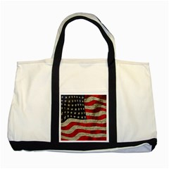 Vintage American Flag Two Tone Tote Bag by Valentinaart
