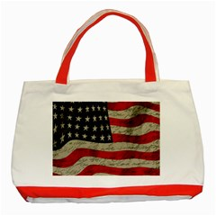 Vintage American Flag Classic Tote Bag (red) by Valentinaart