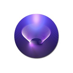 Abstract Fractal 3d Purple Artistic Pattern Line Magnet 3  (round)