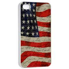 Vintage American Flag Apple Iphone 4/4s Seamless Case (white) by Valentinaart