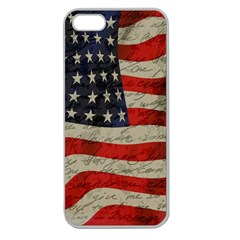 Vintage American Flag Apple Seamless Iphone 5 Case (clear) by Valentinaart