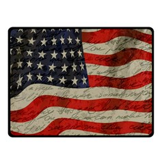 Vintage American Flag Double Sided Fleece Blanket (small)  by Valentinaart