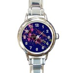 Stars Abstract Shine Spots Lines Round Italian Charm Watch Front